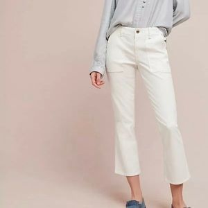 Anthropologie Cropped Utility Bootcut White Pants